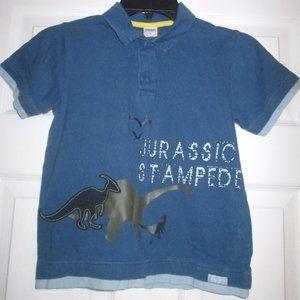 Gymboree Jurassic Stampede Blue Polo Top Sz 6 Boys